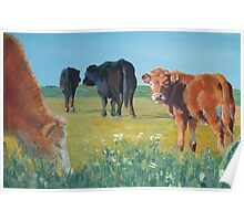 Come On Keep Up - Acrylic Cow and Landscape Painting Poster
