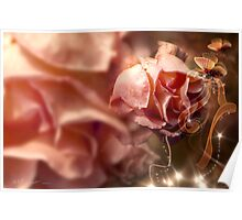 Peach Roses and Ribbons Poster