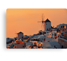The Windmills of Oia Canvas Print