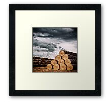 Army of Straw Bales Framed Print