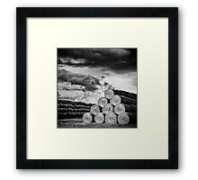 Army of Straw Bales_Black & White Framed Print