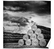 Army of Straw Bales_Black & White Poster