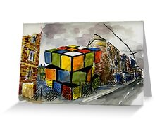Rubix Cube in a Vacant Lot Greeting Card