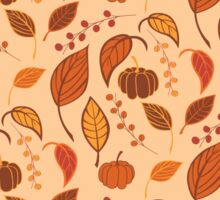 Halloween seamless pattern with pumpkins and leaves Sticker