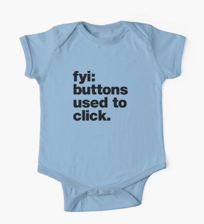 FYI: buttons used to click. One Piece - Short Sleeve