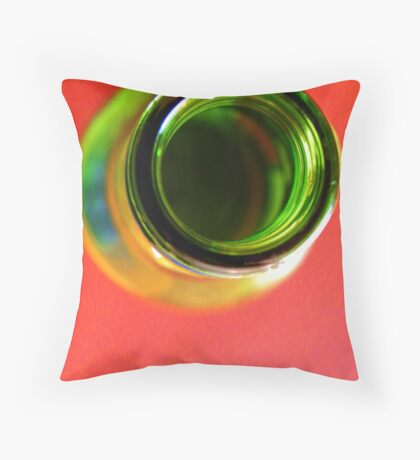 Bottle Green on Red  Throw Pillow