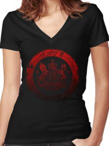 On her Majesty's secret service logo  - RED/BLACK Women's Fitted V-Neck T-Shirt