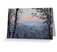Pink Sky And The Snow Greeting Card
