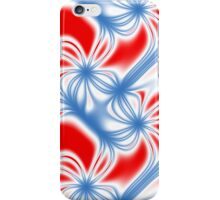 Red and blue curved fractal pattern iPhone Case/Skin