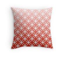 Red Ombre Lattice Circles Throw Pillow