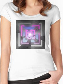 Retro Squares Women's Fitted Scoop T-Shirt