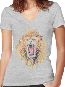 Swirly Lion Women's Fitted V-Neck T-Shirt
