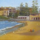 Playing in the sand - South Cronulla Beach by Tash  Luedi Art