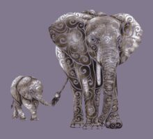 Swirly Elephant Family Kids Tee