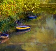 Boats in the Canal - Oxford, England by Mark Richards