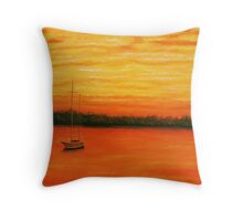 Sunset on the lake. Throw Pillow