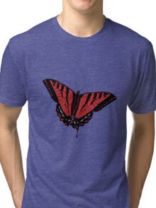 Butterfly - Red Tri-blend T-Shirt