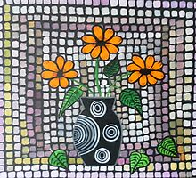 Mosaic with orange flowers by Lorraine Stylianou