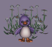 Cute Purple Bird Daisy Flowers Shirt Kids Clothes