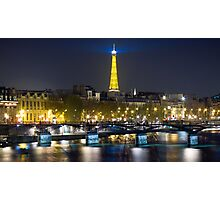 Eiffel Tower & Pont des Arts, by night Photographic Print