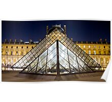 Pyramides du Louvre, by night Poster