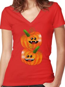 SAVAGE PUMPKINS Women's Fitted V-Neck T-Shirt