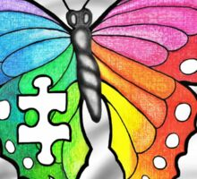 Rainbow Puzzle Butterfly ~ Autism Awareness Design Sticker