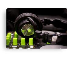 Headphones on a DJ Mixer Canvas Print
