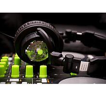 Headphones on a DJ Mixer Photographic Print
