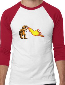 Dinosaur - Orange Men's Baseball ¾ T-Shirt