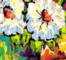 WHITE AND YELLOW FLOWERS IN A VASE COLORFUL ORIGINAL PAINTING Sticker