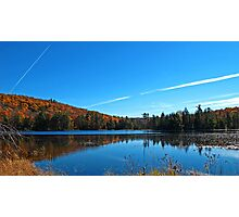 Fall Forest Scene with Orange Leaves - Autumn Lake Reflection under a Blue Sky Photographic Print