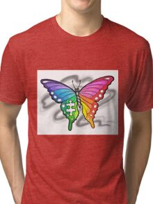 Rainbow Puzzle Butterfly ~ Autism Awareness Design Tri-blend T-Shirt