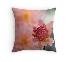 Peachy Dahlia Throw Pillow
