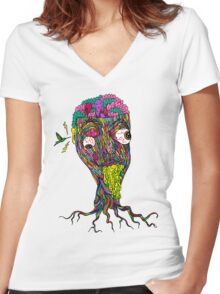 Nicotine Color Women's Fitted V-Neck T-Shirt