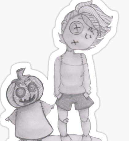 button boy and pumpkin kid Sticker