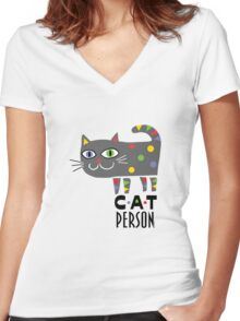 Cat Person Women's Fitted V-Neck T-Shirt