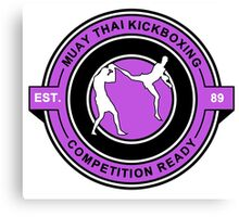 Muay Thai Kickboxing Competition Ready Purple  Canvas Print