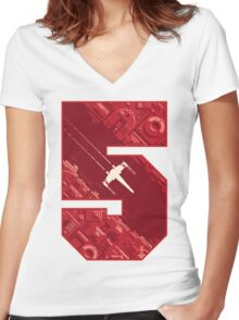 Red Five Women's Fitted V-Neck T-Shirt