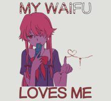 future diary mirai nikki yuno gasai my waifu loves me anime manga shirt by ToDum2Lov3