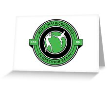 Muay Thai Kickboxing Competition Ready Green  Greeting Card
