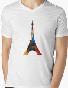 Eiffel Scraps - Eiffel Tower ScrapBook Mens V-Neck T-Shirt