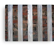 Gray unpainted wooden planks with natural texture Canvas Print