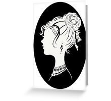 Elegant  Woman Silhouette, Vanity , Beauty black white Greeting Card