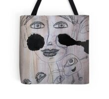 Mixed Media Face Doodle Tote Bag