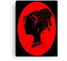 Red Vanity , Fashion Goth Silhouette Beauty Paper Cutout Fashion illustration Lady Canvas Print