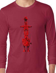 Robot Totem - BiLevel Red Long Sleeve T-Shirt