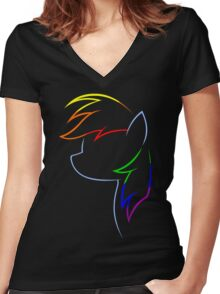 Flash of Rainbows Women's Fitted V-Neck T-Shirt