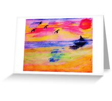 On the Sea, in,watercolor PENCIL Greeting Card