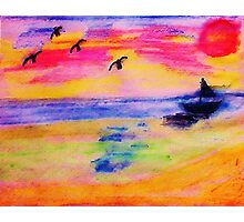 On the Sea, in,watercolor PENCIL Photographic Print